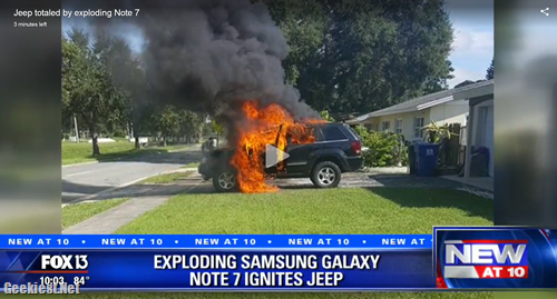 Samsung Galaxy Note 7 exploded JEEP