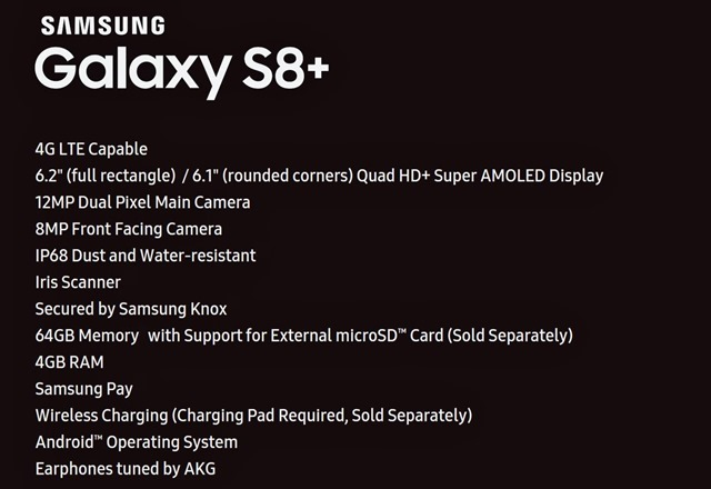 Samsung Galaxy S8 Plus technical specifications