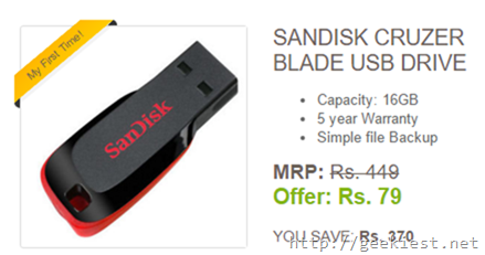 Sandisk Cruzer Blade 16GB USB Drive for just INR 79