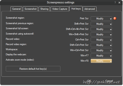 Screenpresso  settings