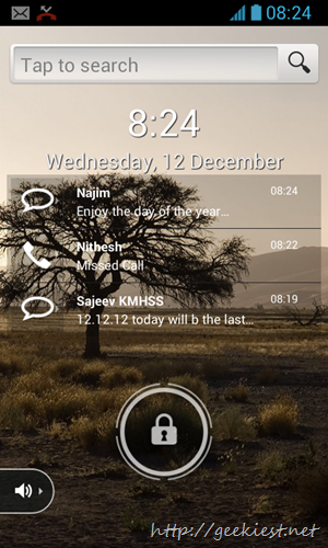 Display pending activities like Missed calls and SMS on the lock screen