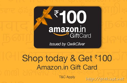 Shop and get INR 100 Amazon Giftcard