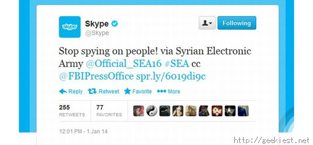 Skype Twitter account hacked