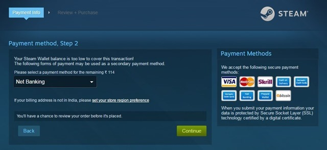 Steam India Debit Card