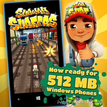 Subway Surfers for Windows Phones with 512 MB RAM