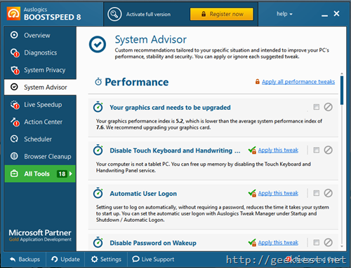 System Advisor for better performance