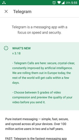 Telegram Voice Calls live