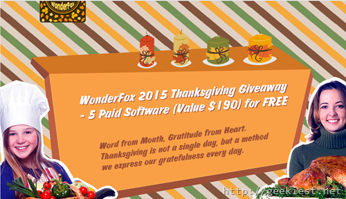 Thanksgiving Giveaway–Software worth 190USD  for FREE from Wonderfox