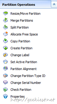 The drive Partition Manager have the following options