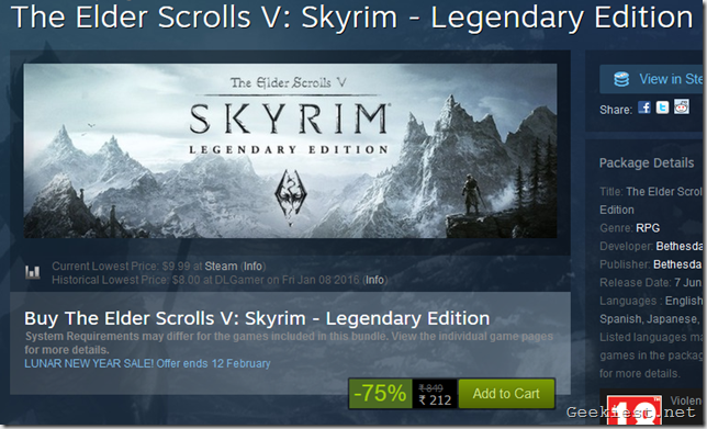 The Elder Scrolls V Skyrim - Legendary Edition sale