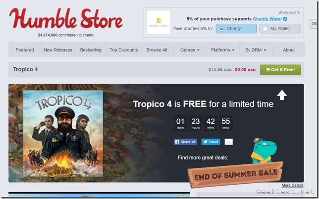Tropico 4 Humble Bundle promo