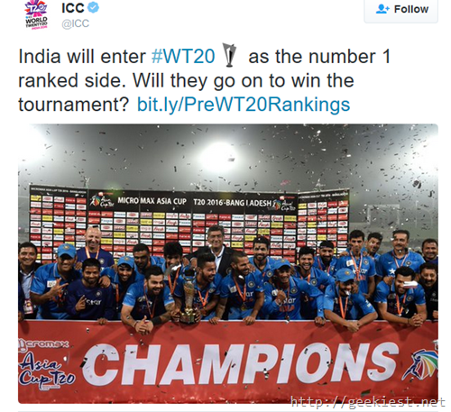 Twenty20 World cup and Twitter Tags