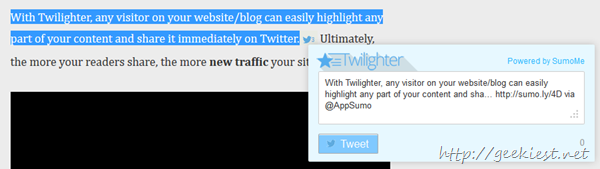 Twilighter tweet window