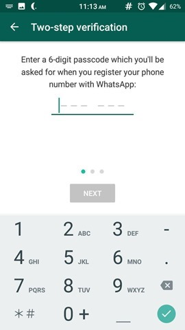 Two-Step Verification in WhatsApp 4