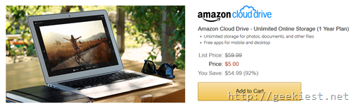 Unlimited Storage Amazon Cloud Drive for Just USD 5