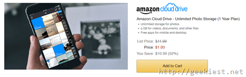 Unlimited photo storage Amazon Coud drive just USD 1