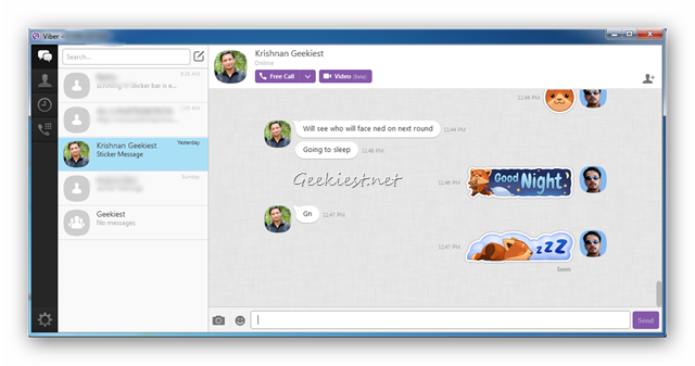 Viber for PC - New Sticker Side-bar Closed