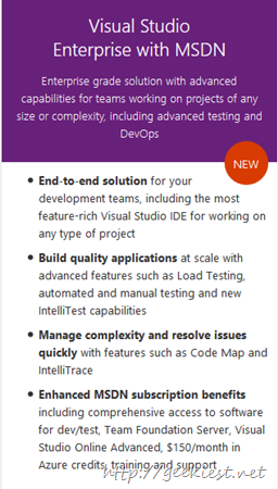 Visual Studio 2015 versions comparissons