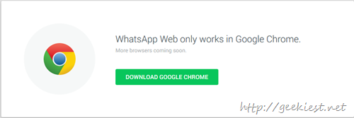 Whatsapp web supports only chrome