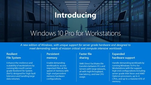 Windows 10 Pro for Workstations announced by Microsoft