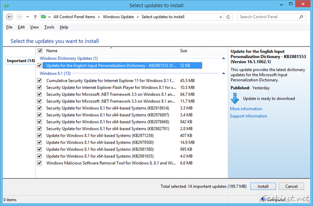 Windows 8.1 August Updates