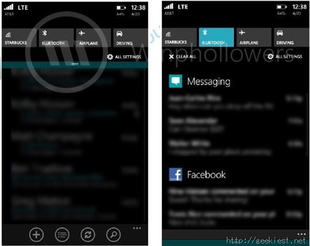 Windows Phone 8.1 Action Center (zoomed in)