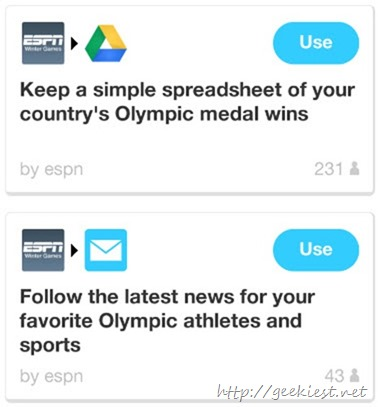 Winter Olympics 2014–New recipes on IFTTT