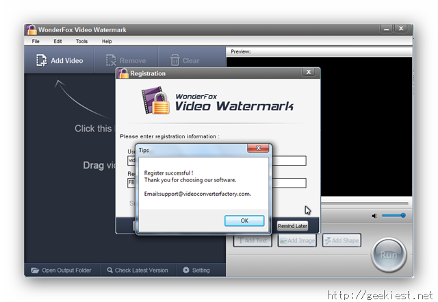 WonderFox Video Watermark Registration Successful