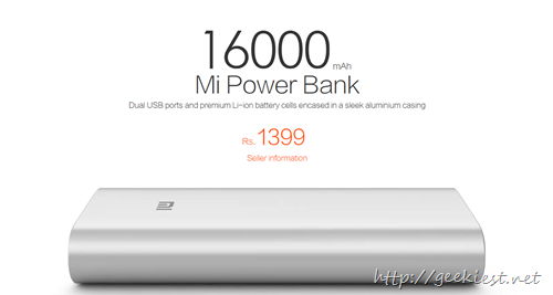 Xiaomi Mi 16000 mAh Powerbank worth INR 1399