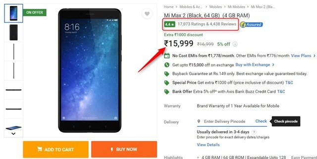 Xiaomi Mi max 2 India price cut flipkart