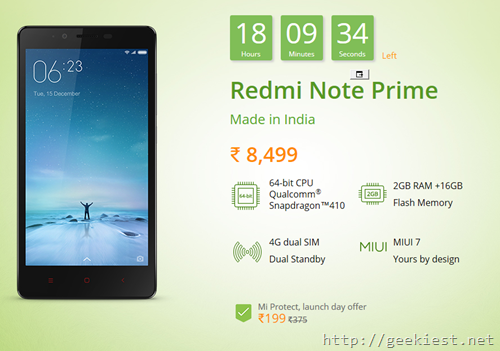 Xiaomi Redmi Note Prime on 15 December and other Offers