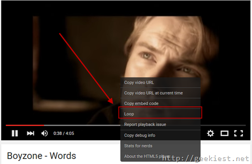 Youtube supports looping of Videos now