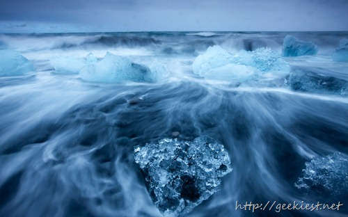 Icebergs in Surf by Jokulsarlon, Iceland