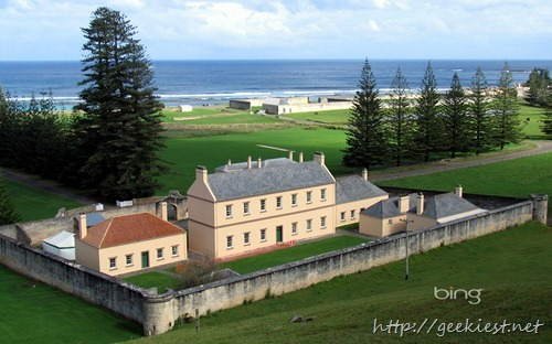Old government buildings and remains of the penal colony in Kingston, the capital of Norfolk Island, Australia