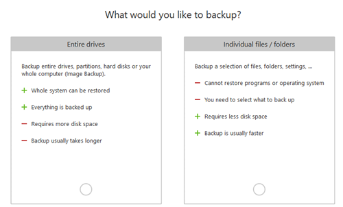 backup data selection