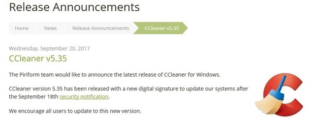 ccleaner gets a new certificate