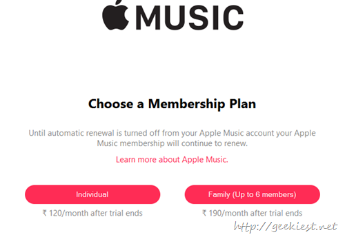 choose apple music plan
