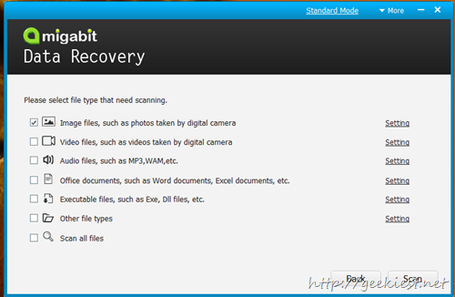 choose the file type you want to recover