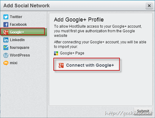 connect to google plus