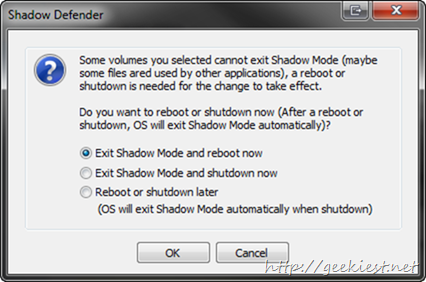 exiting shadow mode