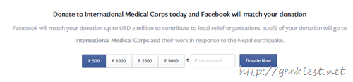facebook nepal donation
