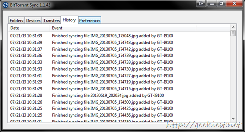 file sync history