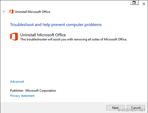 fix Uninstall Microsoft office error