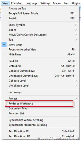 folder as workspace