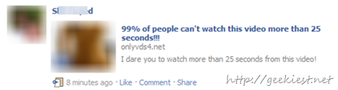 New Facebook Spam - 99 of people can't watch this video more than 25 seconds!!!