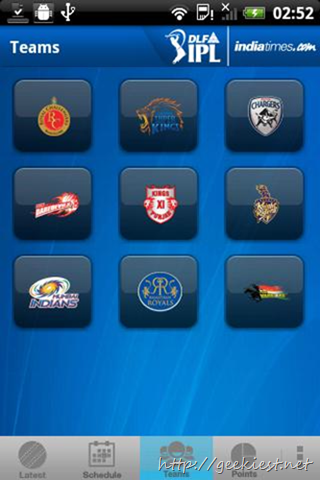IPL 2012- Official applications for Android