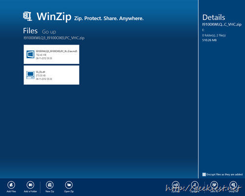 Winzip for Windows 8 User Interface
