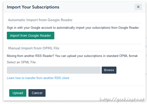 Export feeds from Google Reader