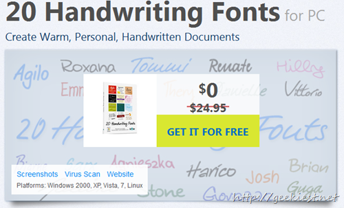 Giveaway 20 Handwriting Fonts for Windows, Linux, and Mac