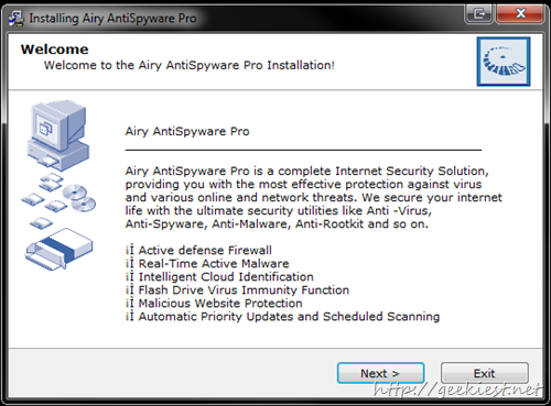 Airy AntiSpyware Pro 2013 Installation